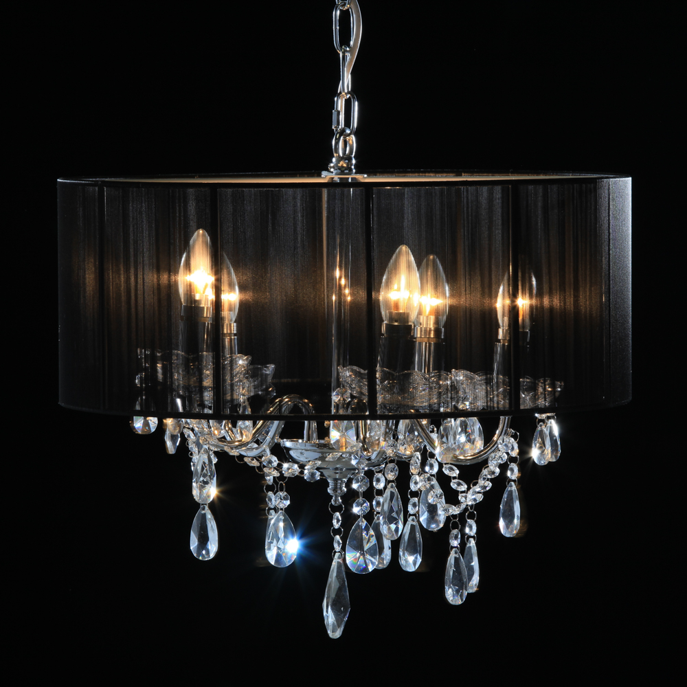 chrome  branch chandelier with black shade  lightstyle interiors, Lighting ideas