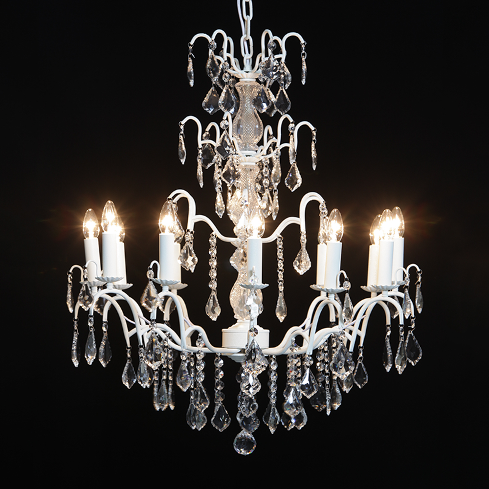 12 Branch French Antique Crackle White Chandelier