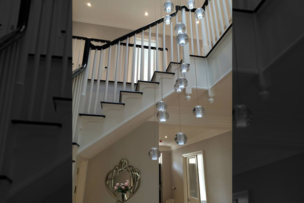 Long stairwell chandeliers modern glass chandeliers and crystal mozeypictures Choice Image