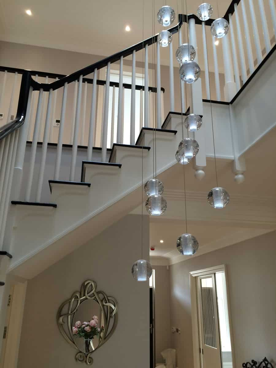 Air bubble long stairwell chandelier bocci style stairwell chandelier mozeypictures Images
