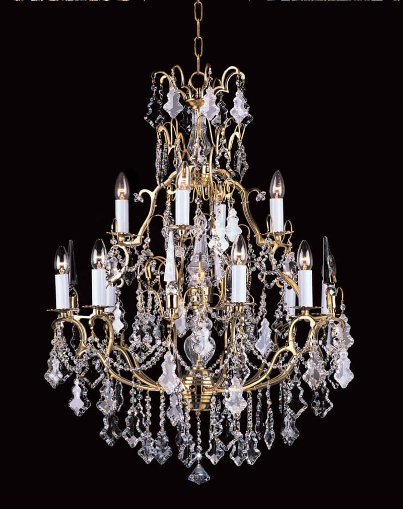 Prociosa Lead Crystal Chandelier Czech Republic Impg22 Finish Shown French Gold Also Available In Antique Bronze 68cm Dia X 98cm High Chain 13 Lights
