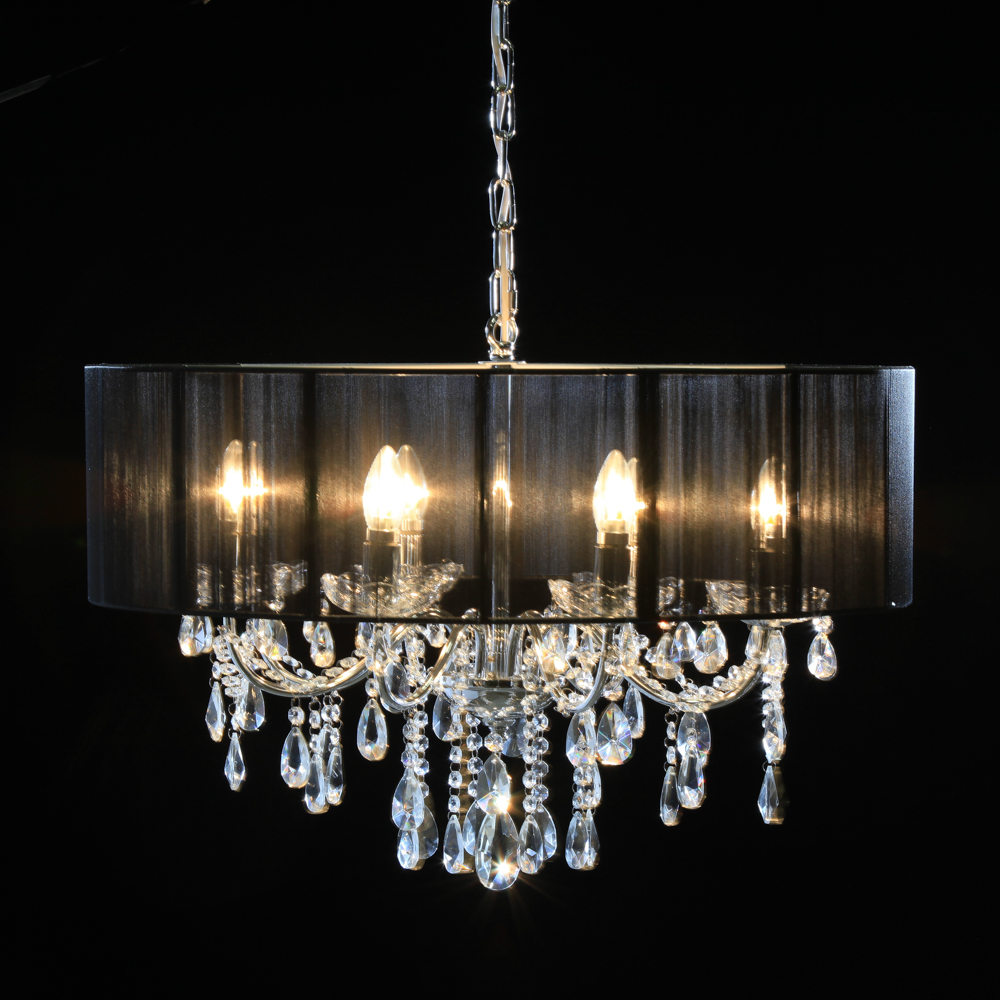 Home French Chandeliers Chrome 8 Branch Chandelier With Black Shade Copper Rose Gold 6 Shallow